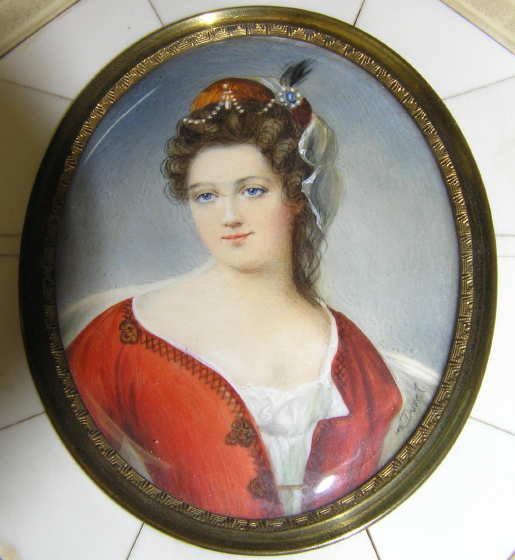 DUVAL Female Miniature Portrait Painting