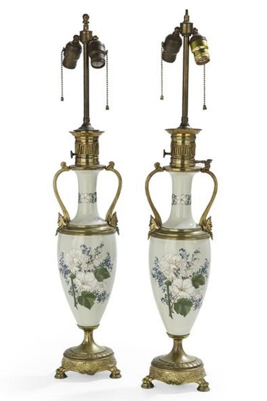 Pair Antique Aesthetic Style Pate-Sur-Pate Porcelain Table Lamps