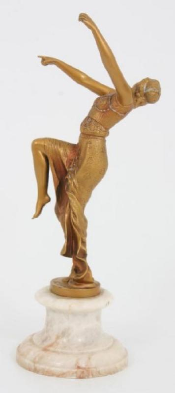 Tarantella French Art Deco Cold Painted Bronze Figurine Sculpture After Joe Descomps