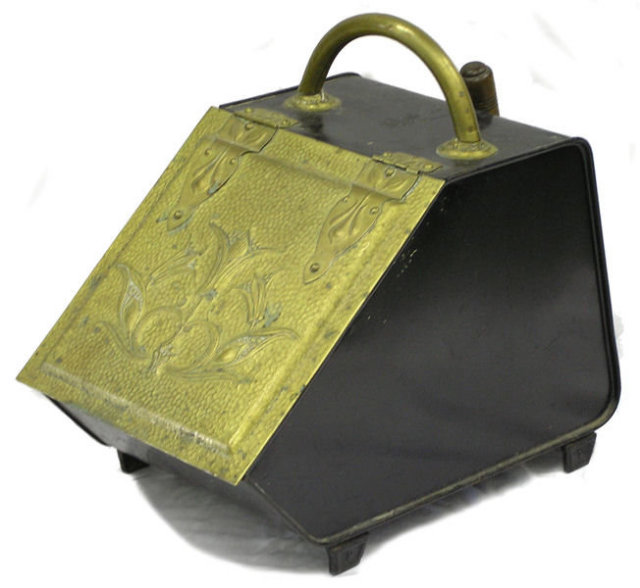 Antique Chased Brass Coal Scuttle & Shovel