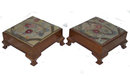 Pair Antique Mahogany Upholstered Foot Stools