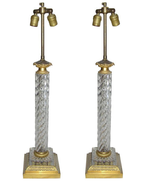 Pair Vintage Cut Glass & Brass Table Lamps