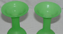Pair Green Opaline Glass Flower Vases