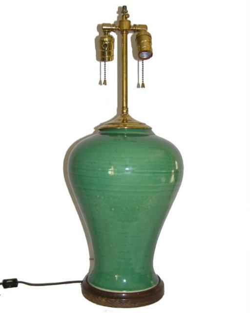 Brass & Green Ceramic Vase Table Lamp
