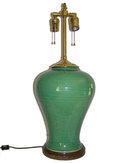 Brass & Green Ceramic Vase Table Lamp