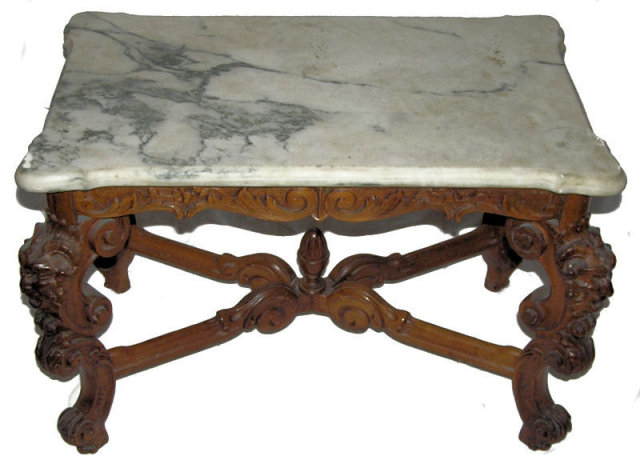Antique Marble Top Georgian Hall Bench