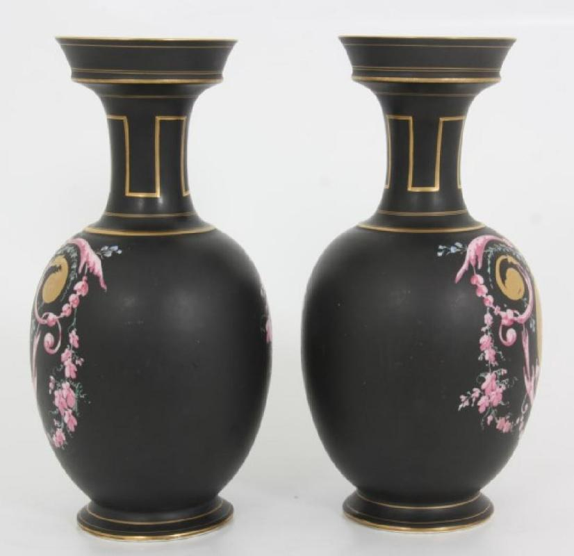Pair Antique Roman Revival Porcelain Vases