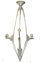 Tall French Art Deco Bronze 6-Light Chandelier