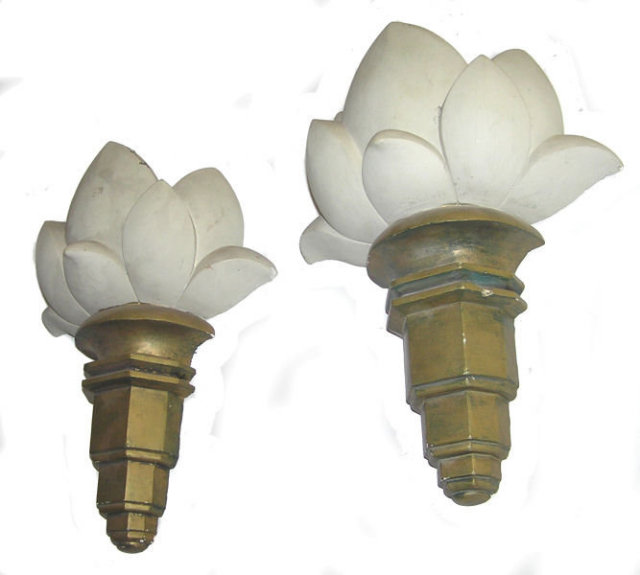 Pair Art Deco Gold & White Plaster Sconces