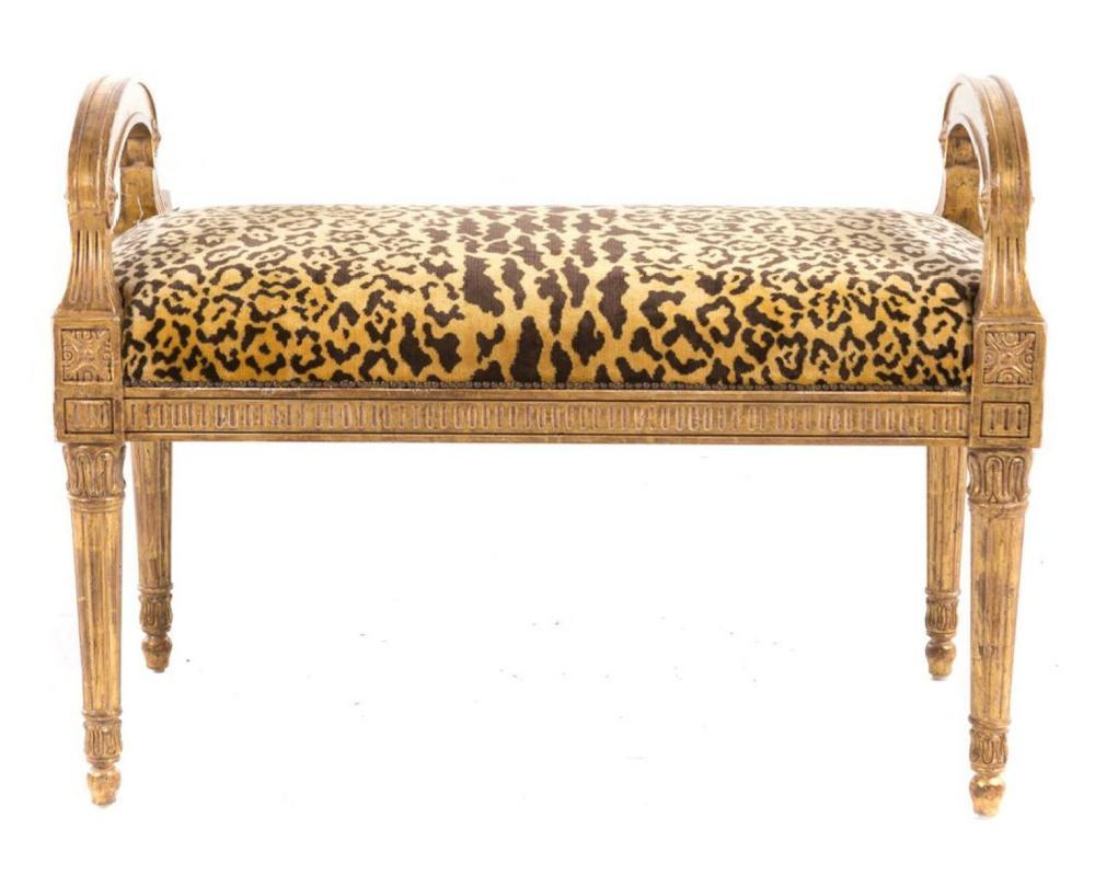 Antique French Louis XVI Style Giltwood Bench