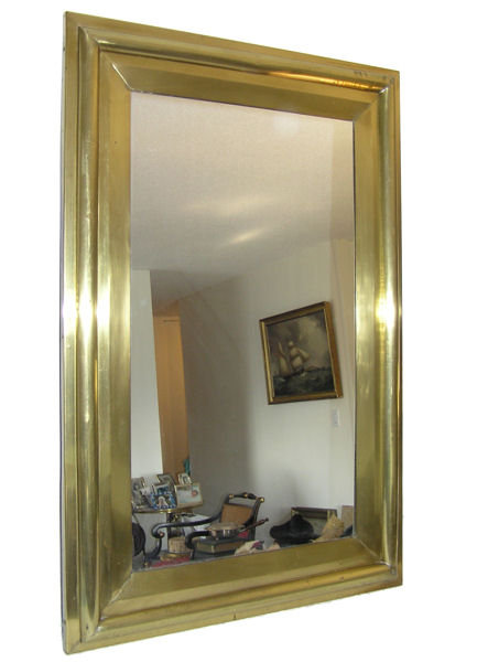 Rectangular Polished Brass Bistro Mirror