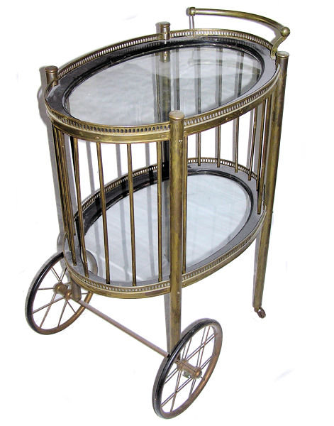Antique Brass Cocktail Bar Cart