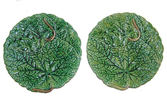 Pair of French JRL Majolica Green Leaf Plates