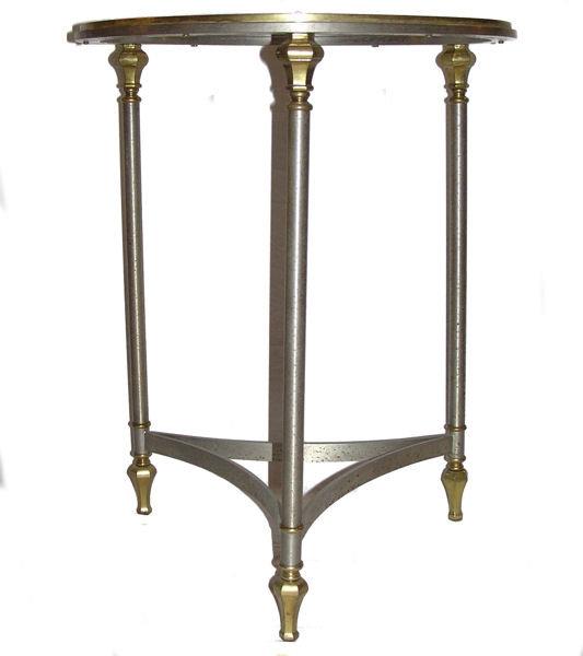 Mid-Century Nickel & Brass Gueridon Side Table