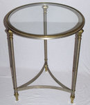 Mid-Century Nickel & Brass Gueridon Side Table