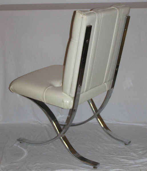 Set 4 Barcelona Style Chrome Dining Chairs