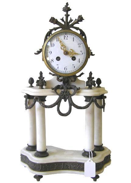 Marble Mantle Clock Candelabra Garniture Set