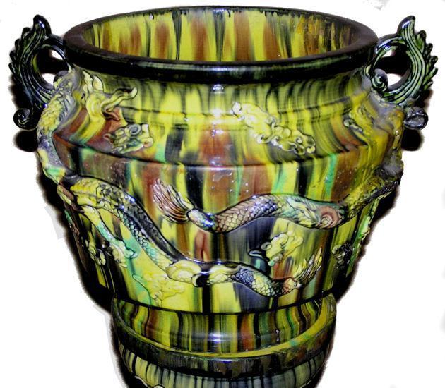 Awaji Japanese Jardiniere & Stand with Flambe Glaze