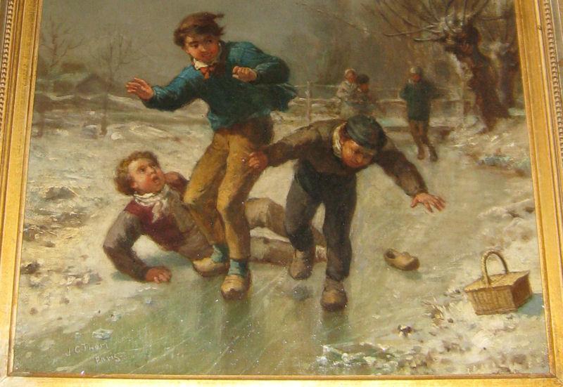 James Crawford Thom (1835-1898) Winter Genre Painting