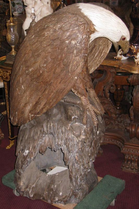 Pair Monumental Antique Japanese Meiji Carved Wooden Bald Eagle Sculptures