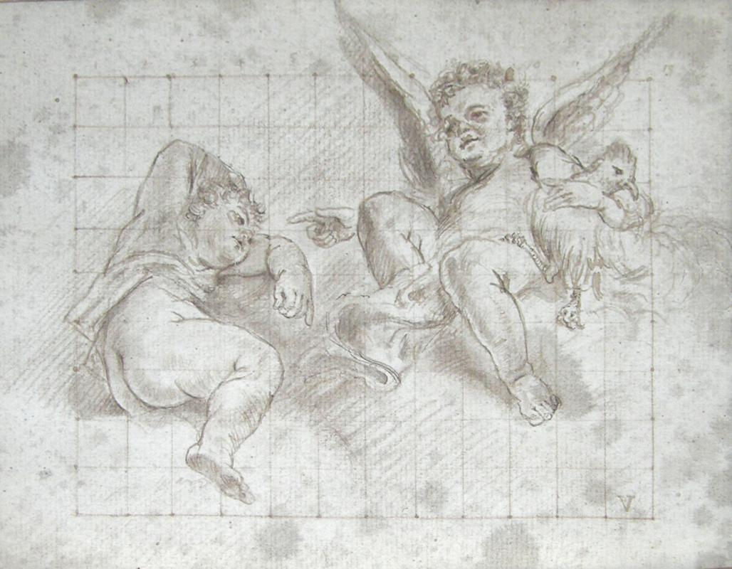 Neoclassical Cupids Ink Drawing Attributed to Marcantonio Franceschini  (1648-1729)