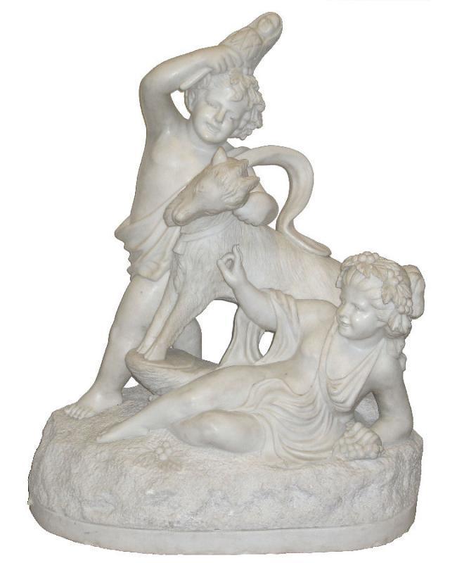 Antique Bacchanalian Group Marble Sculpture After Clodion