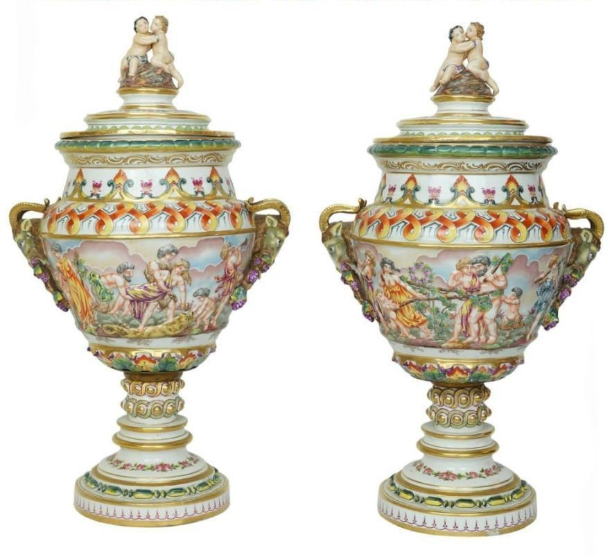 Pair Large Antique Italian Capodimonte Urns / Vases with Lids