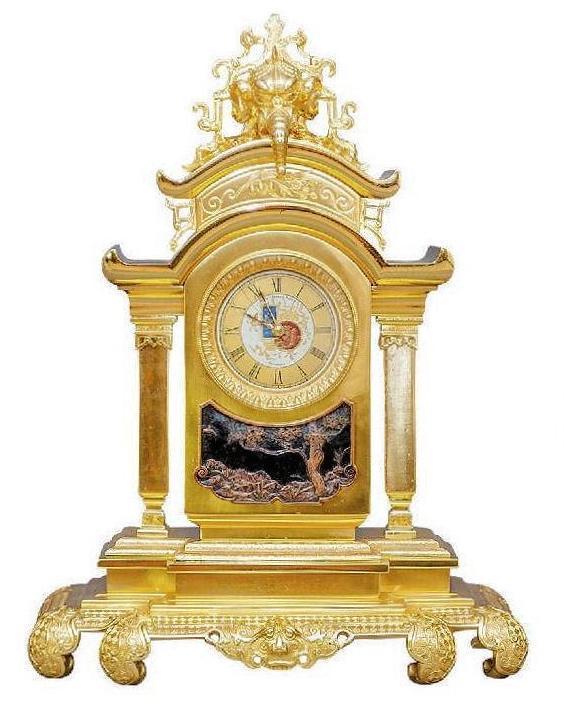 Antique Oriental Aesthetic Period Bronze Clock