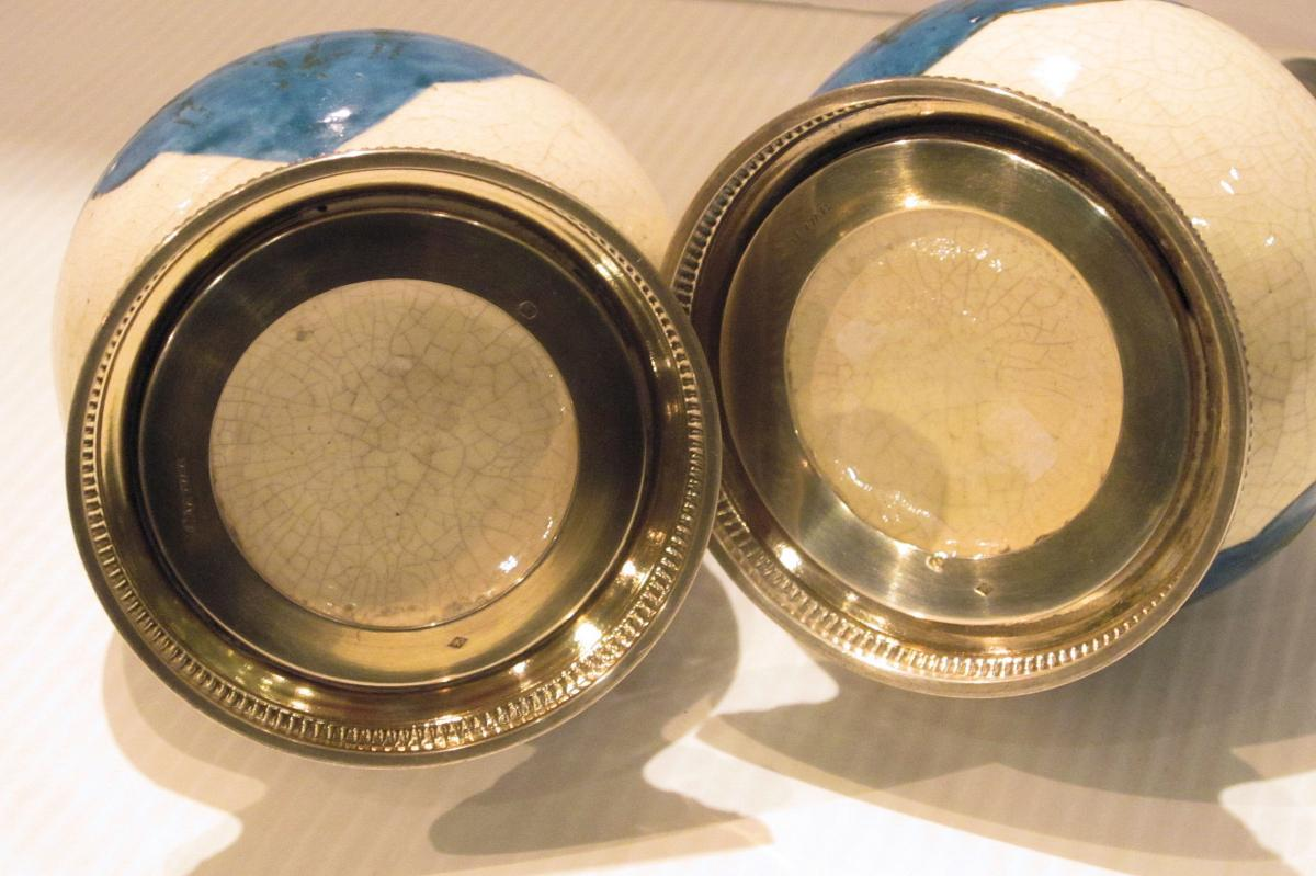 Pair Emile Puiforcat Silver Mounted Kashan Persian Style Glazed Pottery Vases from Cartier