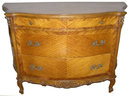 Louis XV Tiger Maple Bombe Commode