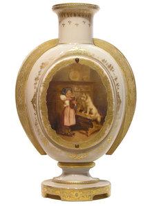Porcelain Jewelled Gilded Handled Vase