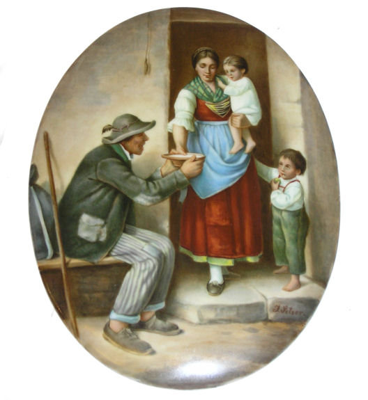 Antique Setzer Signed KPM Porcelain Plaque