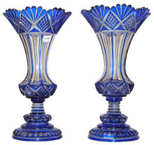 Pair of Blue Cut-To-Clear Glass Vases