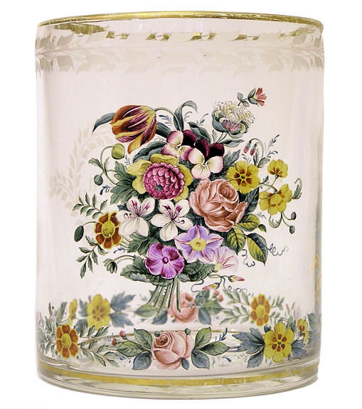 Enamelled Biedermeier Glass Beaker