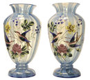 Pair Glass Vases w Enamel Birds & Flowers