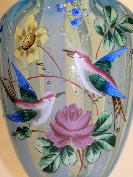 Pair Glass Vases w Enamel Birds & Flowers