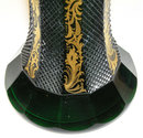Bohemian Gilded Green Glass Flower Vase