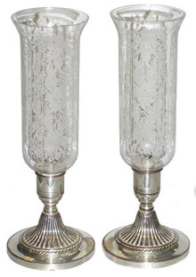 Pair Silver Candlesticks w Glass Hurricanes