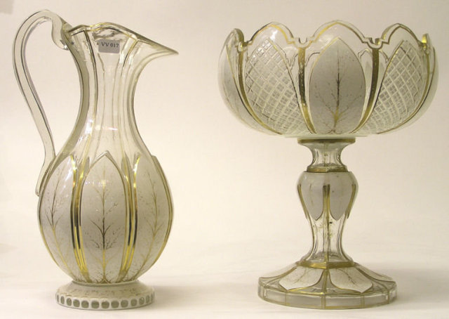 Moser Bohemian Glass Centerpiece & Ewer