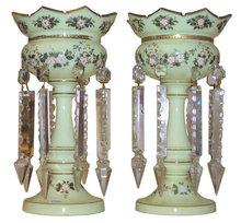 Pair Bohemian Opaline Glass Lustres