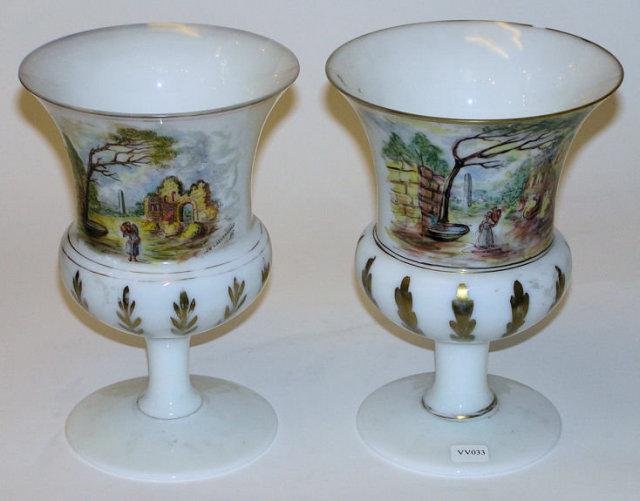 Pair Opaline Glass w Painted German Motif