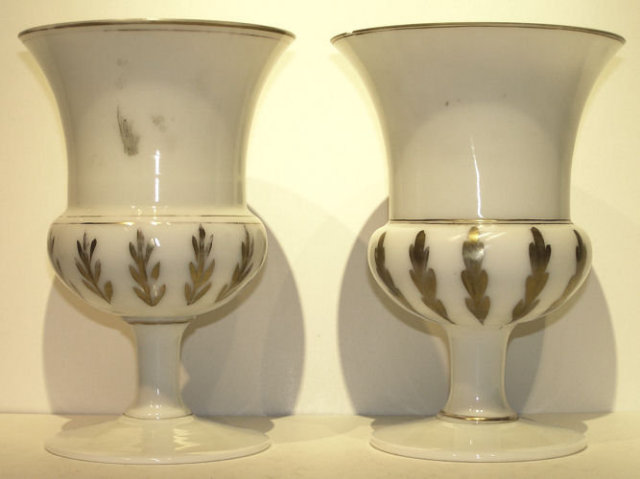 Pair Opaline Glass w Painted German Motif