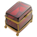 Antique Cranberry Red Glass Jewelry Box