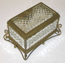 Antique Bronze & Cut Glass Jewelry Box