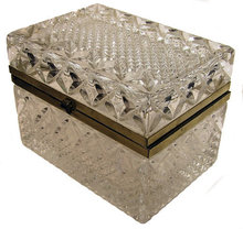 Vintage Molded & Cut Glass Jewelry Box