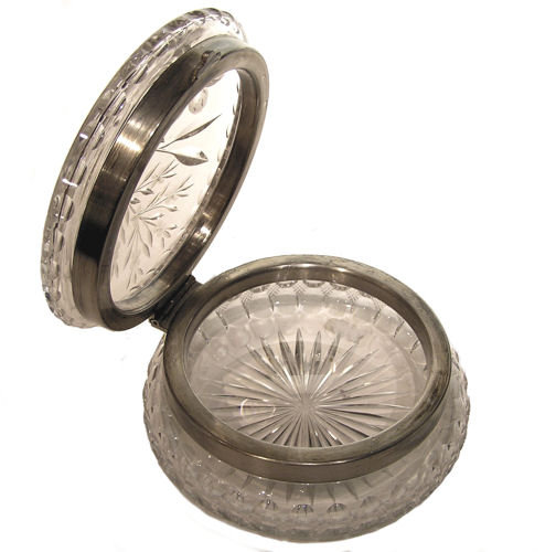 Round Cut Glass Jewelry Dresser Box