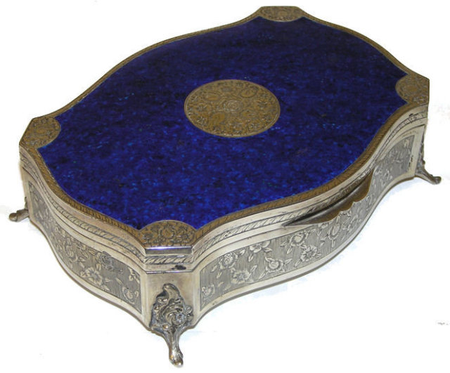 Stunning Blue Enamel & 800 Silver Jewelry Box
