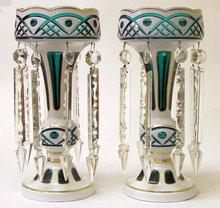 Pair Bohemian Green & White Glass Lustres