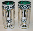 Pair Bohemian Green & White Glass Lustres