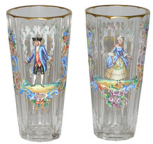 Pair of Lobmeyer Enamelled Tumblers